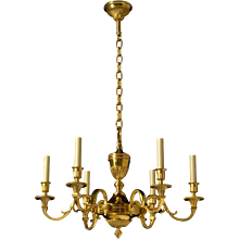 LOUIS XVI Style gilded bronze six light chandelier. Lead time 14-16 weeks.