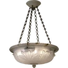 """Carved alabaster pendant with """"LEAF"""" Motif and matching canopy"""