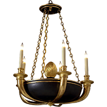ART DECO Style Empire black and gilt wood  chandelier. Lead time 14-16 weeks.