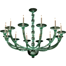 ART DECO Style Venetian twelve light chandelier. Lead time 14-16 weeks.