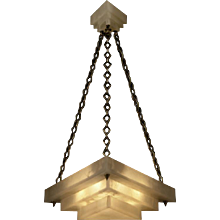 ART DECO Style three light triangular stepped alabaster pendant with matching canopy