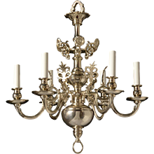 DUTCH Style gilded brass six light chandelier. Lead time 14-16 weeks.
