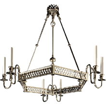 Nickeled bronze six light hexagonal fretwork chandelier. Lead time 14-16 weeks.