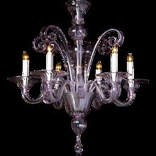 ART DECO Style Venetian alexandrite six light chandelier. Lead time 14-16 weeks.