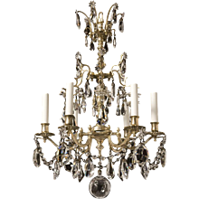Dutch style silvered bronze and crystal six light chandelier. Lead time 14-16 weeks.