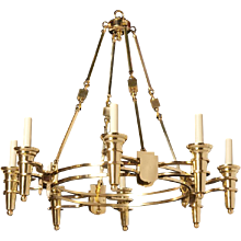 """DELANO"" Art Deco style polished brass chandelier"