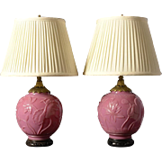 "Pair of carved ""Peking Glass"" lamps"