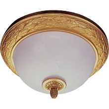 """LAUREL"" Motif two light flushmount with gilded bronze border"