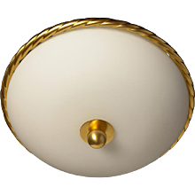 """ROPE"" Motif gilded bronze and frosted glass flush mount."