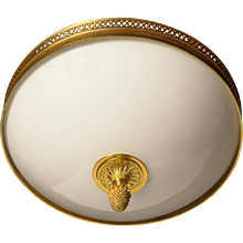 Gilded bronze and opaline glass flushmount with diamond banding, three lights