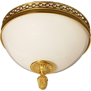 Gilded bronze and opaline glass flushmount with open circle banding, two lights