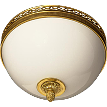 Gilded bronze and opaline glass flushmount with half circle banding, two lights