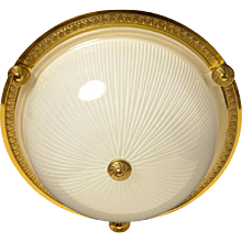 Gilded bronze and ribbed glass flush mount with button, two lights
