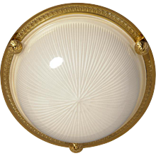 Gilded bronze and ribbed glass flush mount, two lights