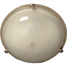 Nickeled bronze and ribbed glass flushmount, three lights