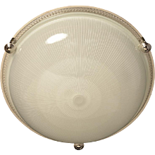 Nickeled bronze and ribbed glass flush mount, three lights