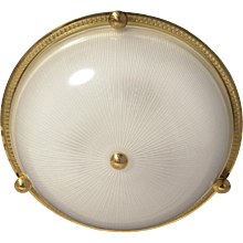 Gilded bronze and ribbed glass flushmount with button, four lights
