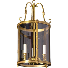 LOUIS XVI Style gilded bronze three light lanter