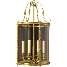 LOUIS XVI Style gilded bronze four light lantern