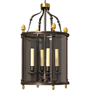 LOUIS XVI Style gunmetal and gilded bronze four light lantern.