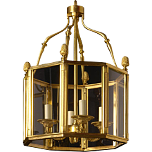 LOUIS XVI Style gilded bronze four light hexagonal lantern.