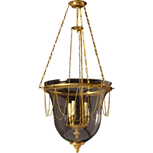 Gilded bronze and crystal bell lantern, three lights.