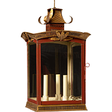 PAGODA Style painted tole three light lantern