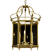DUTCH Style brass hexagonal lantern, three lights.