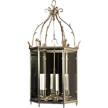 LOUIS XVI Style silvered bronze lantern, six lights.