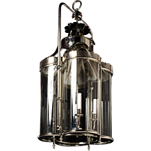 """WEXFORD"" Nickeled brass four light lantern with curved glass panels."