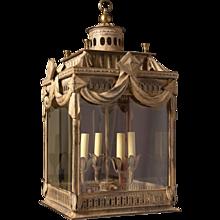 Whitewashed iron four light lantern.