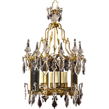 LOUIS XV Style gilded bronze and crystal trimmed six light lantern
