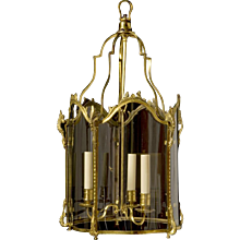 LOUIS XV Style gilded bronze three light lantern