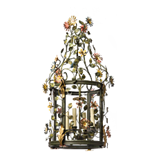 """FLORAL"" Motif gilded and painted iron four light lantern"