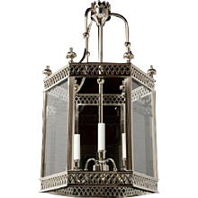 """ARUNDEL"" Nickeled brass three light hexagonal lantern"