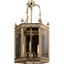 ARUNDEL Polished brass three light hexagonal lantern