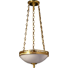 Gilded bronze and opaline glass three light pendant with half circle gallery