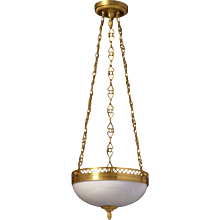 Gilded bronze and opaline glass three light pendant with heart shaped gallery and chain