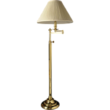 Brass swing arm floor lamp.Can be custom finish. Lead time 14-16 weeks.