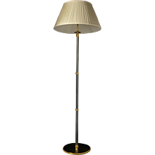 Gunmetal and gilded bronze floor lamp with fluted shaft.Can be custom finish. Lead time 14-16 weeks.