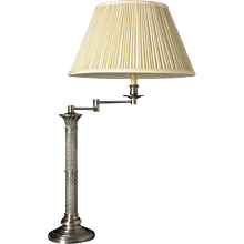 Nickeled bronze swing arm table lamp with decorated shaft