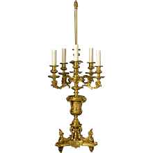 REGENCE Style gilded bronze six light candelabra lamp