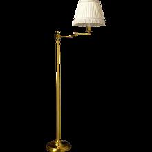 Gilt bronze one light swing arm lamp