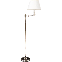 Polished nickel one light swing arm floor lamp