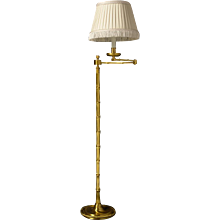 "Gilt bronze one light swing arm lamp with ""Bamboo"" motif"