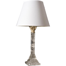 Regency Style rock crystal table lamp with silvered bronze Corinthian capital