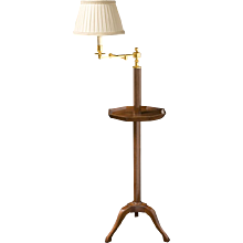 VIDE POUCHE Gilded brass and mohagany one light swing arm lamp with octagonal tray