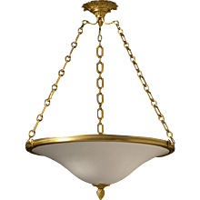 Opaline glass three light pendant with gilt bronze frame