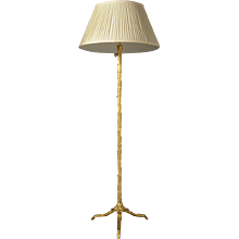Gilded bronze floor lamp with tripod base and adjustable shaft, two lights