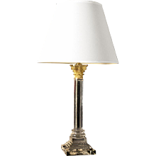 ADAM Style cut crystal lamp with Corinthian capital two lights